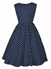 40's 50's Retro Vintage Style Audrey Blue Polka Dot Swing Tea Dress BNWT  8 - 20