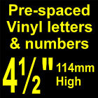"QTY of: 8 x 4½"" 114mm HIGH STICK-ON  SELF ADHESIVE VINYL LETTERS & NUMBERS"