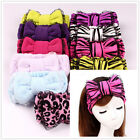 HOT Womens Lace Superfine Fiber Bow Headband Leopard Zebra Makeup Wash Hair Band