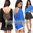 Women Summer Vintage Cut Out Back Bow 3/4 Sleeve Evening Top T-Shirts Blouse 655