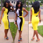 Womens Sexy Midi Dress Sleeveless Summer Rainbow Bodycon Stretch Dresses 5 Size