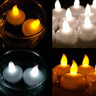 12 LED Waterproof Floating Tea Light Flameless Candle Wedding Party White Amber