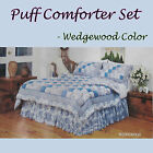 4 PCE Patchwork PUFF COMFORTER Set + Valance - Choice of QUEEN or KING