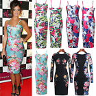 Womens Ladies Bodycon Black Floral Midi Cocktail Party Dress Size 8 10 12 14 16