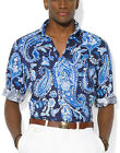 POLO RALPH LAUREN $165 PAISLEY ESTATE M, L, XL LINEN Sport Shirt Blue White NEW