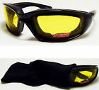 Motorcycle Sun Glasses Padded Padding ATV Yellow Lens Night Riding Goggles NEW