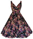 BLACK FLOWER GARDEN 50'S VINTAGE STYLE PARTY JIVE SWING TEA DRESS NEW 10 - 28