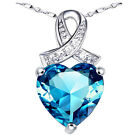 """.925 Sterling Silver 6.06 Cttw Blue Topaz Gemstone Pendant Necklace w/ 18"""" Chain"""