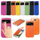 Slim Flip Smart View Leather Back Battery Case Cover For Samsung Galaxy S4 i9500