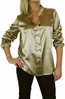 NEW (4042-3) Ladies Silky Feel Satin Evening Blouse Top Olive Gold 8-18