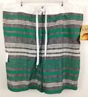 NWT Mens OP Swim Board Shorts Green/Gray Stripe