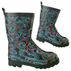 Hearts Print Design Girls Wellies Children Wellington Boots School Funky Shoes