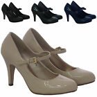 LADIES STRAP MID HEEL CASUAL MARY JANE SMART WOMENS WORK PUMP COURT SHOES SIZES