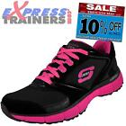 Skechers Womens Agility Rewind Running Fitness Gym Trainers Blk/Pk * AUTHENTIC *