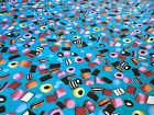 Liquorice Allsorts Sweets Turquoise Back ground Polycotton Fabric Candy