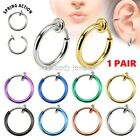 "1pc. 14G~3/8"" Spring Loaded Fake Septum Rhodium Plated Brass (Choose color)"