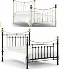 VICTORIA 5ft KING SIZE METAL BED FRAME IN STONE WHITE & BRASS OR SATIN BLACK