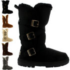 Womens Triplet Buckle Tall Fully Fur Lined Snow Waterproof Winter Boots US 5-11