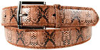 MEN BLACK / BROWN FAUX SNAKE SKIN GENUINE LEATHER STITCHED BELT w BELT BUCKLE