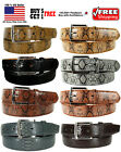 Внешний вид - MEN BLACK / BROWN FAUX SNAKE SKIN GENUINE LEATHER STITCHED BELT w BELT BUCKLE
