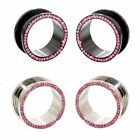 Value Pack 2 PAIRS Pink Crystals Gems Black Silver Steel Flesh Tunnels Ear Plugs