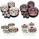 14 Sizes Mexican Sugar Skull Acrylic Screw Flesh Tunnels Black White Ear Plugs