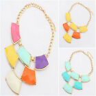 Hot Lady Fashion Jewelry Crystal Chunky Bib Pendant Chain Choker Necklace n37