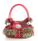 Signature G Jacquard Patchwork of Snakeskin/Cheetah ANIMAL PRINT Satchel FUCHSIA