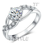 TTstyle White Gold Plated Sparkling Clear CZ Fashion Womens Ring NEW