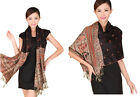 Free Shipping Double-Sides Fancy Paisley Women's Silk Pashmina Shawl/Scarf Warp