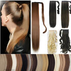 Long Curly Straight clip in ponytail hair extension Synthetic Brown Blonde hs25