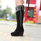 Sweet Womens Wedge High Heel Faux Suede Knee High Boots Casaul Shoes Pull On New