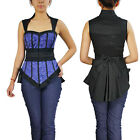 Blue Bustier Top Chicstar Victorian Gothic Goth Office Ladies Steampunk