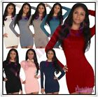 Sexy Women's Knitted Jumper Dress Ladies Casual Sweater One Size 6,8,10,12 UK