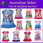 Girls Disney Pyjamas Pj Nightie Dress Frozen Princess Anna Elsa Sofia Dora