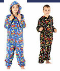 NEW BOYS COMIC ALL OVER PRINT SOFT FLEECE ONESIE BLACK BLUE AGE 7 -13 YEARS