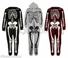 Mens Womens Unisex Halloween Skeleton All in One Costume Hooded Onesie Jumpsuit