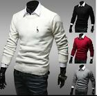 Men Casual Slim Fit Crewneck Knitted Cardigan Pullover Jumper Sweater Tops 1Q19