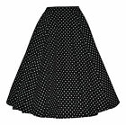 Vintage Retro 40's 50's Full Circle Black Polka Dot Rockabilly Jive Swing Skirt