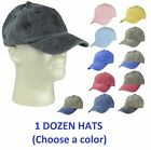 1 DOZEN Mens Pigment Dyed Washed Cotton Caps Adjustable Hats CHOOSE A COLOR