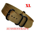 EXTRA LONG Premium ZULU® 5 Ring PVD OLIVE BROWN Watch Strap Band NYLON Divers XL