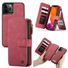 For Apple iPhone 12 Leather Wallet Folio Zipper Case Luxury Cover 14 Card Holder