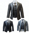 5 Piece Boy Suit in Brown Grey Dark Grey Page Boys Suits Wedding Prom Suits