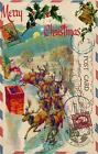 Vintage Airmail Postcard Santa & Sleigh Christmas 3 sizes Quilting Fabric Block