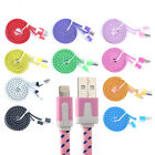 10 Color Noodle Braided USB Data Charger 3/6FT Cable Cord For iPhone 6/6 plus/5S