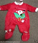 New My First Christmas Xmas Santa baby red sleepsuit babygrow outfit