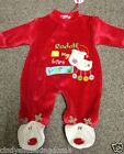 New Christmas Xmas Rudolf Reindeer baby red sleepsuit babygrow outfit