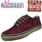 Sperry Top Sider Mens Striper CVO Suede Leather Trainers Burgundy * AUTHENTIC *
