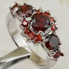 Size 5.5 6.5 7.5 8.5 Super Garnet Red Jewelry Gold Filled Woman Gift Ring K2338