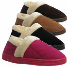 LADIES FUR LINED SLIPPERS SIZES WOMENS FAUX SUEDE SHOES UK SIZES 3 4 5 6 7 8